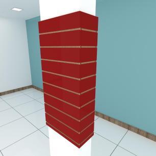 Kit 4 Painel canaletado para pilar vermelho escuro 2 peças 54(L)x120(A)cm + 2 peças 20(L)x120(A)cm