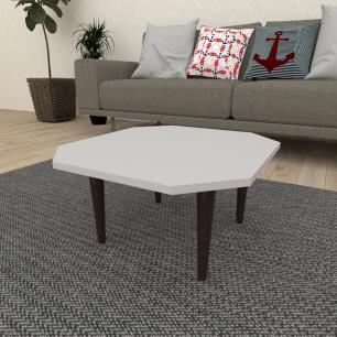 Mesa de Centro octagonal em mdf cinza com 4 pés retos em madeira maciça cor tabaco