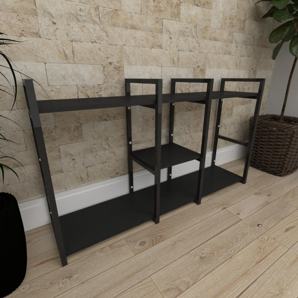 Mini estante industrial para escritório aço cor preto prateleiras 30 cm cor preto modelo ind18pep