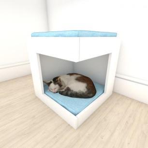 caminha casinha para Gato em mdf Branco