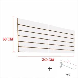 Kit Painel canaletado branco alt 60 cm comp 240 cm mais 50 ganchos 20 cm