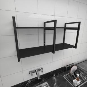 Prateleira industrial para cozinha aço cor preto prateleiras 30cm cor preto modelo ind22pc
