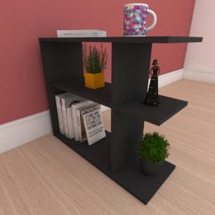 Estante de Livros compacta com prateleira em mdf preto