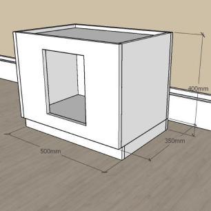 Mesa de cabeceira bercinho casinha para Gato em mdf Amadeirado
