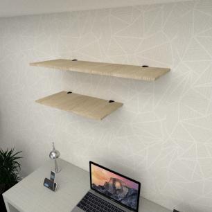 Kit 2 prateleiras escritório MDF sup tucano amadeirado claro 1 60x30cm 1 90x30cm mod pratesamc14