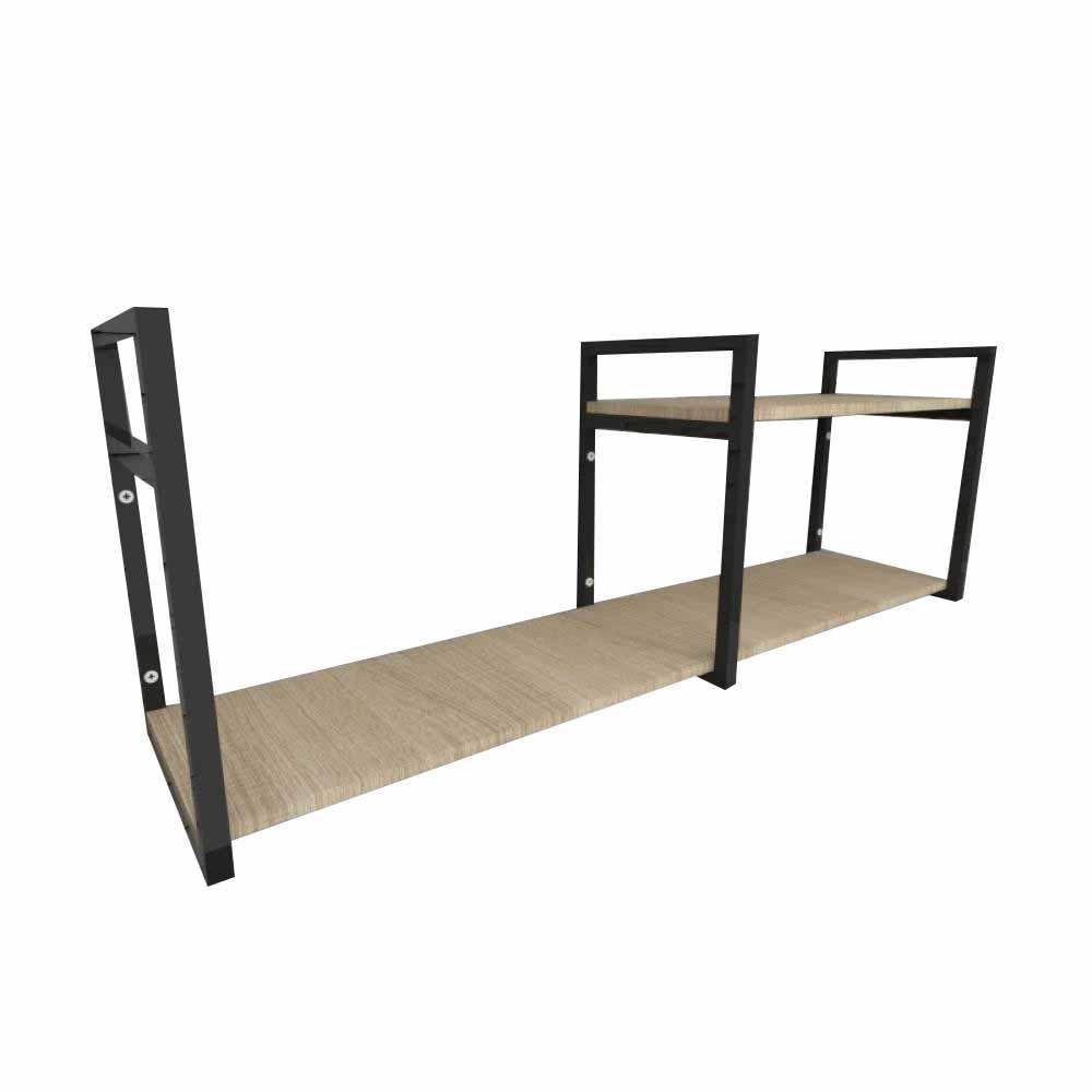Prateleira industrial aço cor preto 30 cm MDF cor amadeirado claro modelo indfb07acsl
