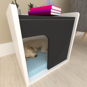 Casinha criado mudo para cachorro mdf branco com preto