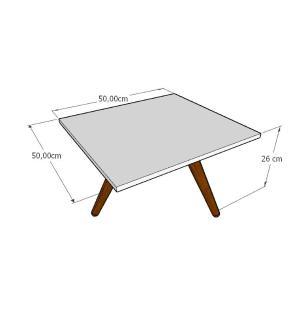 Mesa de Centro quadrada em mdf amadeirado escuro com 3 pés inclinados em madeira maciça cor mogno