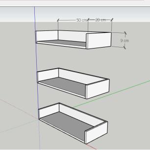 Prateleira, nichos modernos, em mdf 50x20 cinza com branco