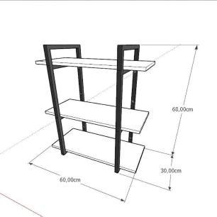 Prateleira industrial para escritório aço cor preto mdf 30 cm cor amadeirado escuro modelo ind09aees