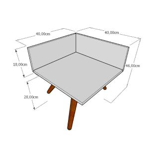 Mesa de Cabeceira simples em mdf amadeirado escuro com 3 pés inclinados em madeira maciça cor tabaco