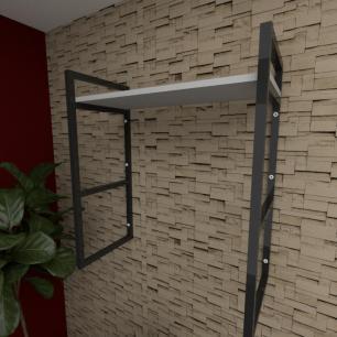 Prateleira industrial para escritório aço cor preto prateleiras 30 cm cor cinza modelo ind15ces