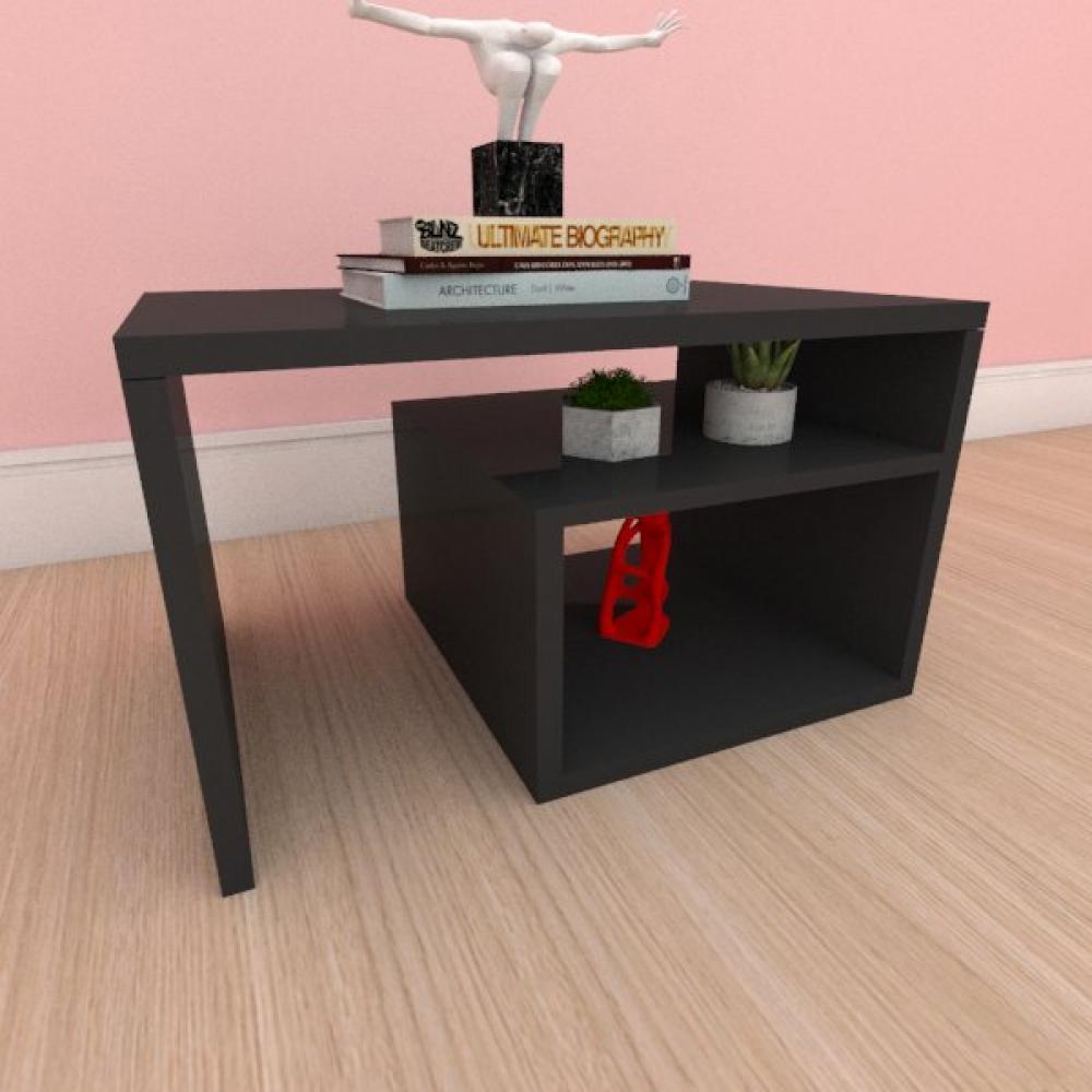 Mesa de cabeceira moderna simples com prateleiras em mdf preto