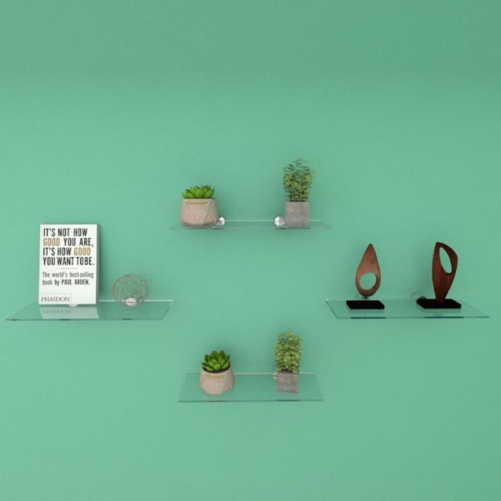 Kit com quatro Prateleira para sala 30 cm vidro temperado