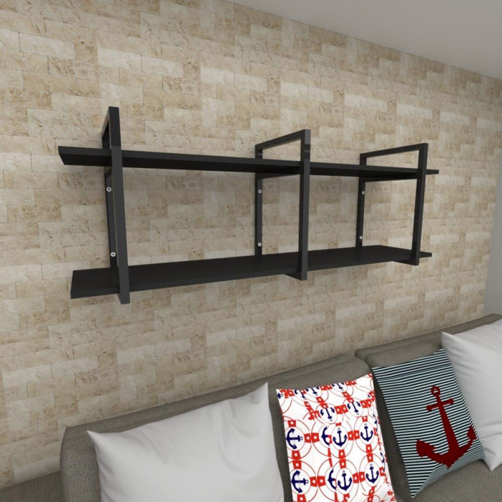 Prateleira industrial para Sala aço cor preto prateleiras 30 cm cor preto modelo ind05psl