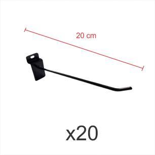 kit para expositor com 20 ganchos 4mm preto de 20 cm para painel canaletado