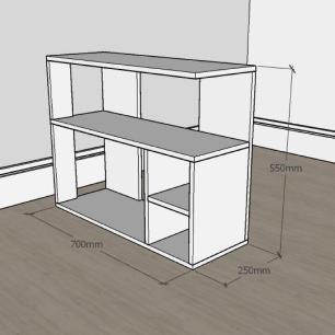 Estante escritório formato slim em mdf Cinza