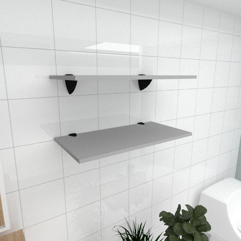 Kit 2 prateleiras para banheiro em MDF suporte tucano cinza 60x30cm modelo pratbnc05