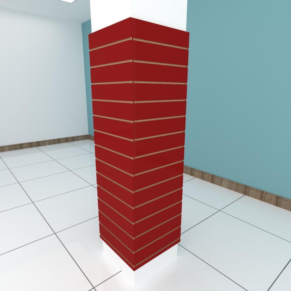 Kit 4 Painel canaletado para pilar vermelho escuro 2 peças 54(L)x180(A)cm + 2 peças 50(L)x180(A)cm
