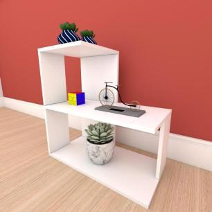 Mesa de Cabeceira formato S simples em mdf Branco