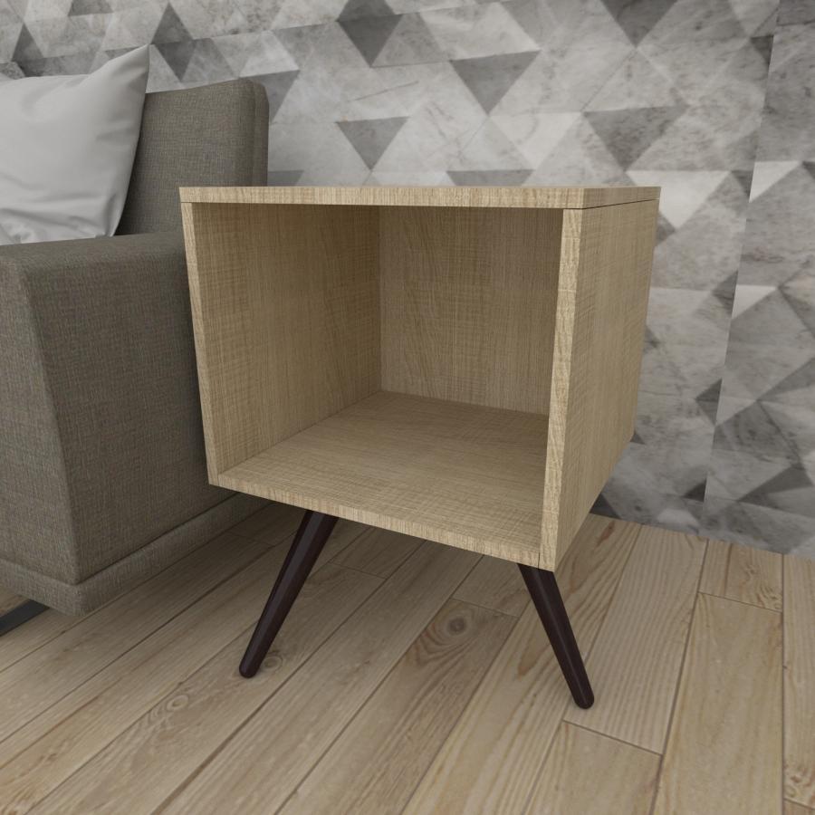 Mesa lateral moderna em mdf amadeirado claro com 3 pés inclinados em madeira maciça cor tabaco