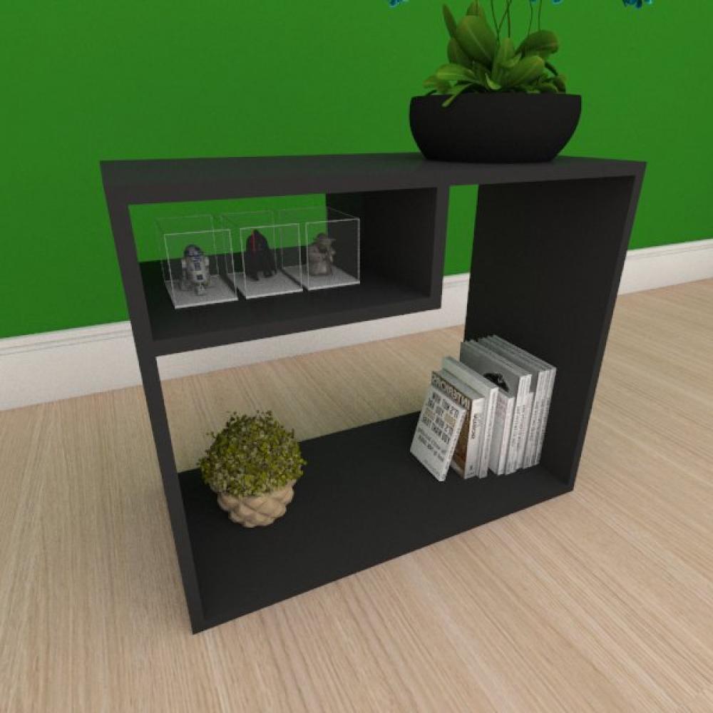 Kit com 2 Mesa de cabeceira simples com nicho em mdf preto