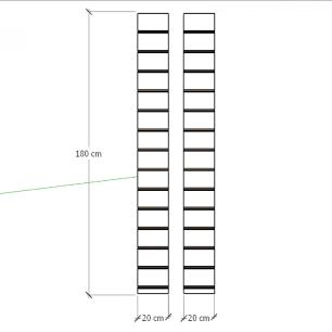 Kit 2 Painel canaletado para pilar cinza cristal 2 peças 20(L)x180(A)cm