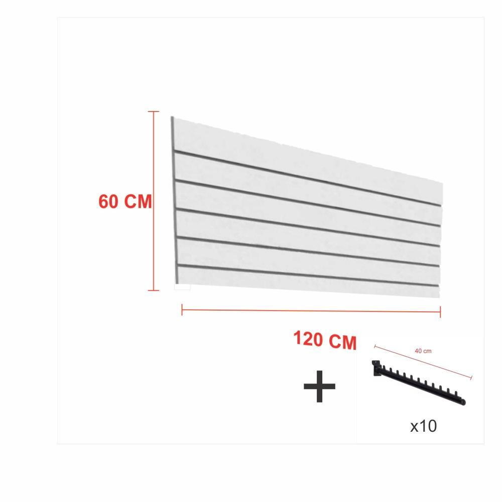 Expositor canaletado cinza alt 60 cm comp 120 cm mais 10 ganchos rt 40 cm para roupas