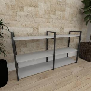 Mini estante industrial para sala aço cor preto prateleiras 30cm cor cinza modelo ind11ceps