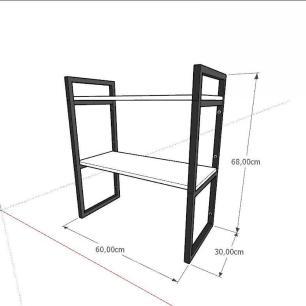 Prateleira industrial para lavanderia aço cor preto mdf 30cm cor amadeirado escuro modelo ind08aelav