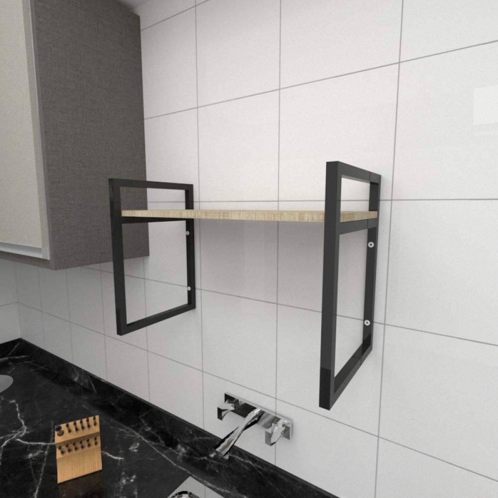 Prateleira industrial para cozinha aço cor preto prateleiras 30cm cor amadeirado claro mod ind03acc