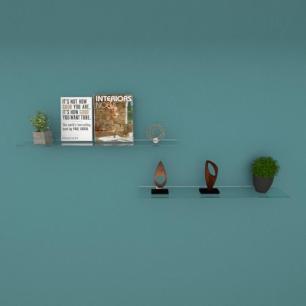 Kit com duas Prateleira para sala 60 cm vidro temperado