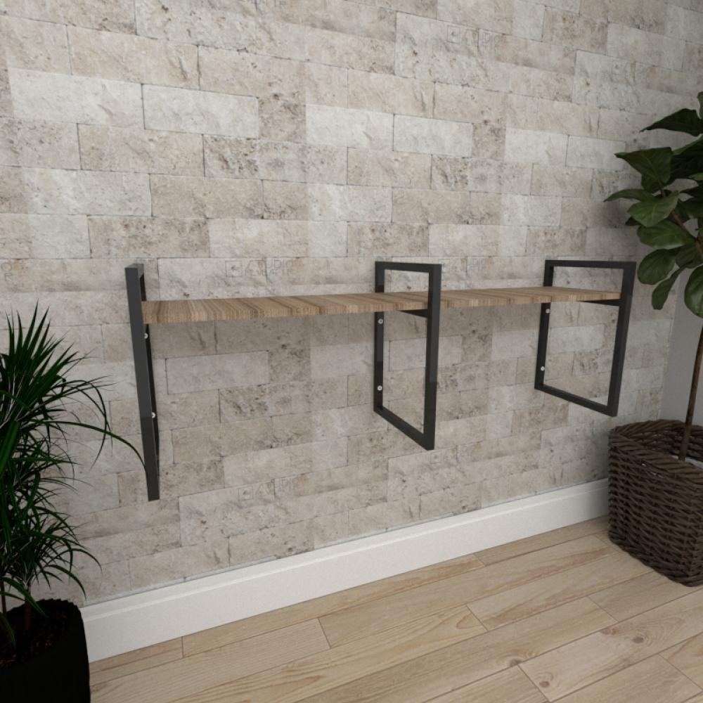 Mini estante industrial para escritório aço cor preto mdf 30cm cor amadeirado escuro mod ind06aeep