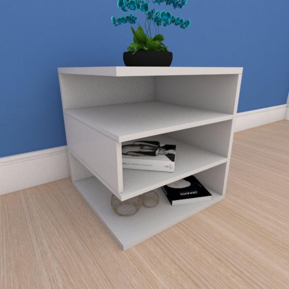 Mesa Lateral minimalista com nichos em mdf cinza