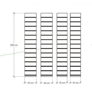 Kit 4 Painel canaletado para pilar cinza cristal 2 peças 34(L)x180(A)cm + 2 peças 30(L)x180(A)cm