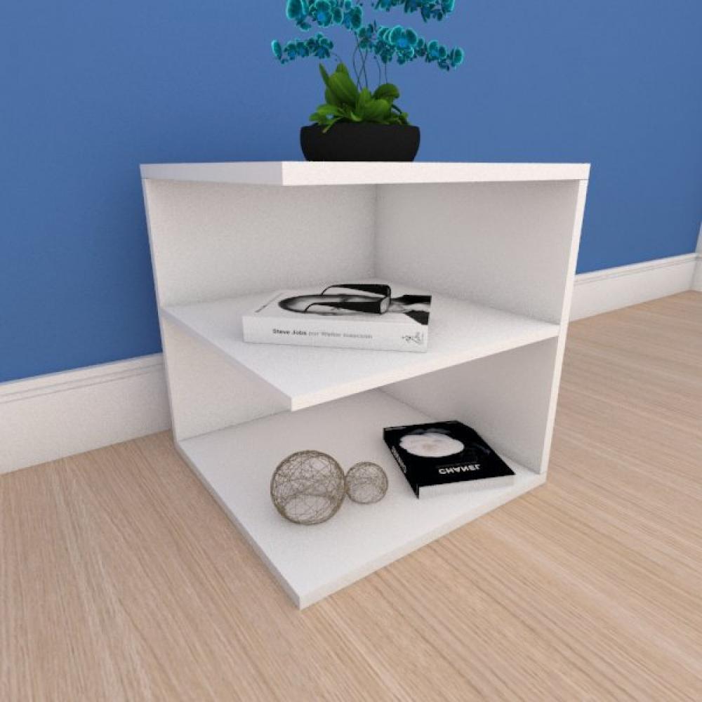 Kit com 2 Mesa de cabeceira compacto com prateleiras em mdf branco