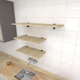 Kit 3 prateleiras cozinha em MDF suporte tucano amadeirado claro 2 60x30cm 1 90x30cm mod pratcamc15