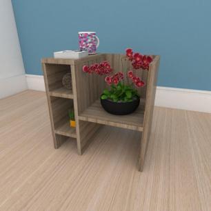 Mesa Lateral minimalista em mdf amadeirado