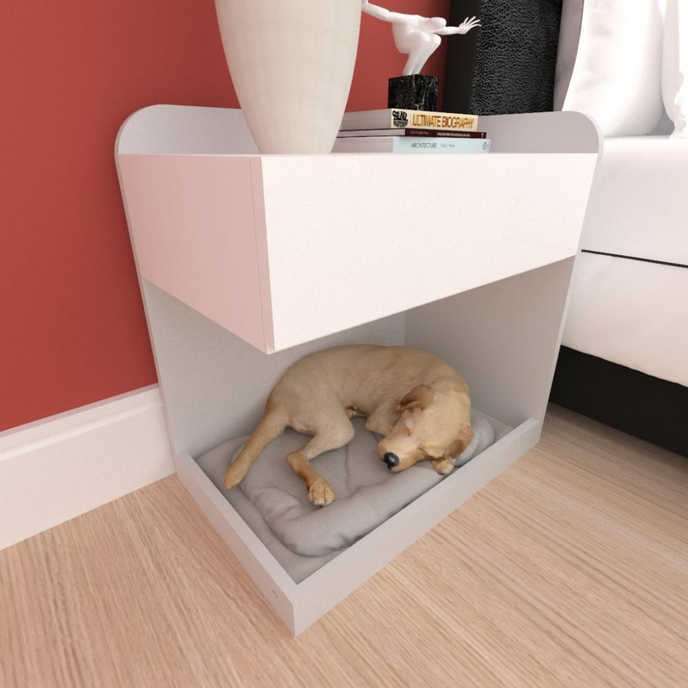 caminha criado mudo cão gaveta mdf cor cinza branco