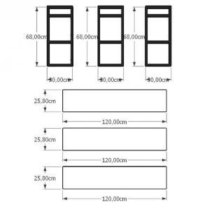 Aparador industrial aço cor preto prateleiras 30 cm cor preto modelo ind12papr