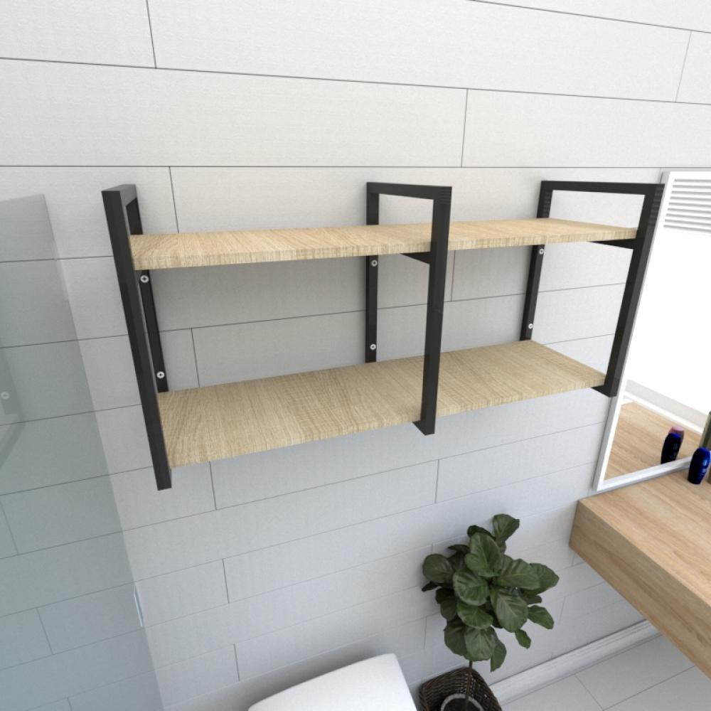 Prateleira industrial banheiro aço cor preto prateleiras 30cm cor amadeirado claro mod ind22acb