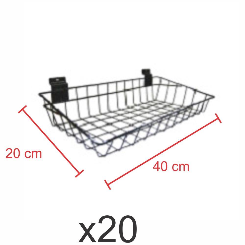 Pacote com 20 Cestos para painel canaletado 20x40 cm preto