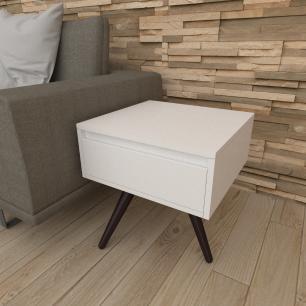 Mesa lateral com gaveta em mdf branco com 3 pés inclinados em madeira maciça cor tabaco