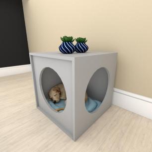 Mesa de cabeceira caminha bercinho para cachorro em mdf Cinza