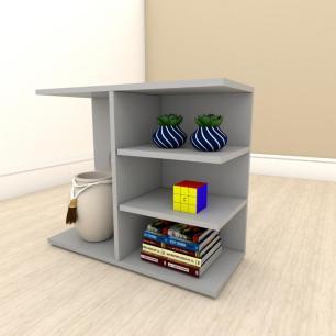Estante para livros slim em mdf Cinza