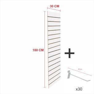 Kit Painel canaletado branco alt 180 cm comp 30 cm mais 30 ganchos 20 cm