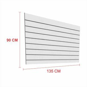 Expositor painel canaletado 18mm cinza altura 90 cm comp 135 cm