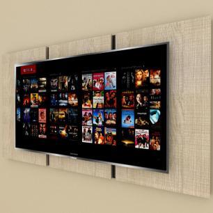 Painel Tv pequeno moderno amadeirado claro com preto