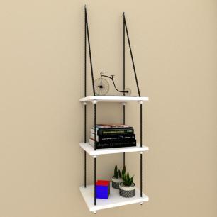 Tres nicho prateleiras moderna com cordas, mdf Branco