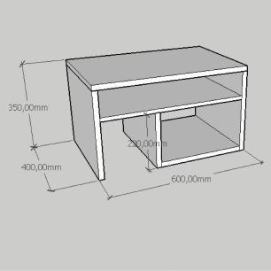 Mesa Lateral moderna compacta com prateleiras em mdf branco